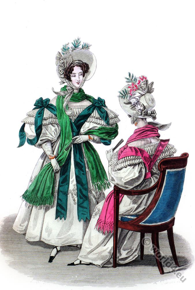 Crinoline, Bonnets, Crepe, fashion history, Romantic, dresses,
