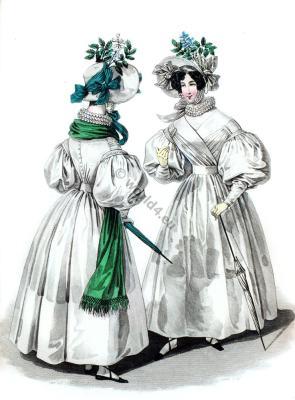 Embroidered chiffon dresses. Romantic fashion era.