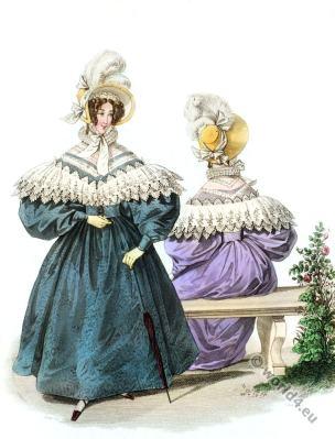 Embroidered Canezou. Romantic era costumes.