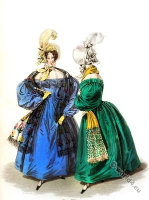 Swiss Chemisette chiffon. Romantic era costumes 1833.