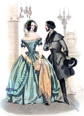 Romantic era costumes. Biedermeier fashion.