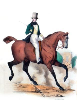 Horse riding costume. Costume de Cheval. Romantic fashion. Dandy costume.