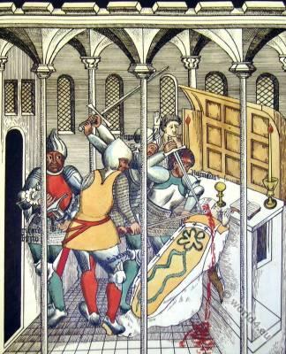Martyrdom of Saint Thomas of Canterbury. Medieval Saint. Archbishop England Canterbury