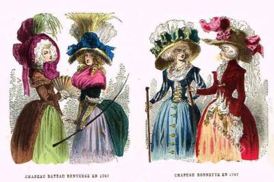 18th century headdresses and gowns in France.