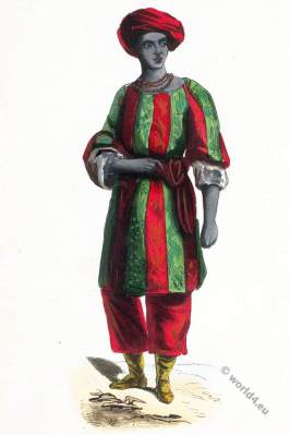 African King of Bussa. Kingdom of Oyo, Western Sudan. Historical clothing.