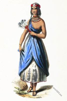 Bornu empire. Sudan Africa. Girl from Kano. Historical clothing.