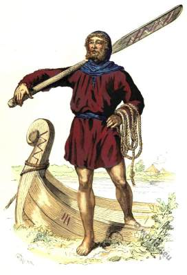 Ancient Gaulish celt clothing. Parisian boatman costume.