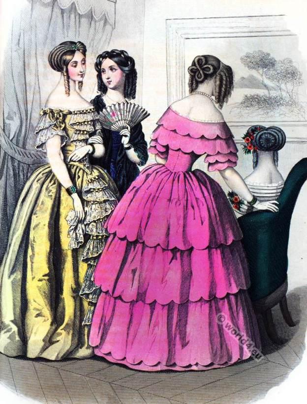 Crinoline costumes. Romantic era.