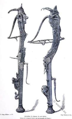 Hunting crossbows. 16th century weapons. Renaissance armor.