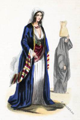 Arabia Egypt, Cairo. Rich woman, woman of the people. Historical clothing.