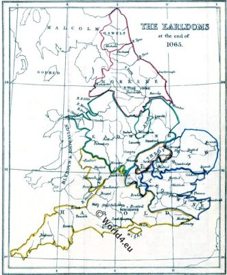 Map, Earldoms, British,Anglo-Saxon, Harold, William, Conqueror, Middle ages, Engeland