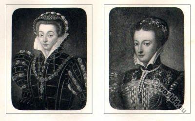 Portait Mary Stuart. Tudor costumes. Queen Scotland