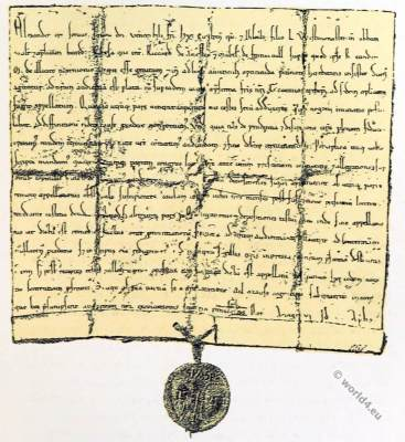 Bull of Pope Alexander III. England court life. Middle ages