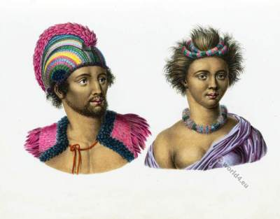 Hawaii Natives costumes. Sandwich Islands Inhabitants .
