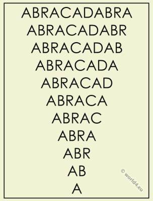 Abracadabra as protective spell. Magic word.