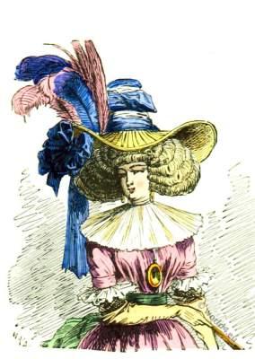 Chapeau à la Chinoise 1787. Rococo fashion. Modes de Paris. French Ancien Régime era.