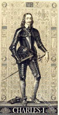 King Charles I of England in armor. 16th century clothing. Baroque era costumes.