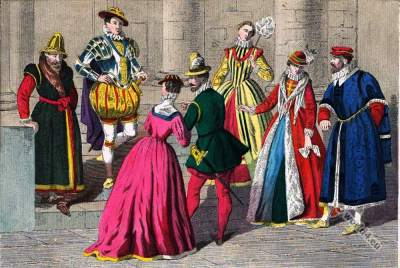 Tudor England clothing 1550 to 1580. Renaissance era.
