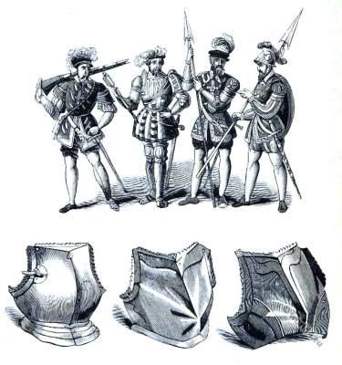 England Tudor era. Military costume 16th century.