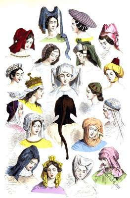 Medieval woman hats and hairstyles. 15th, 16th century. Burgundy, Gothic fashion era