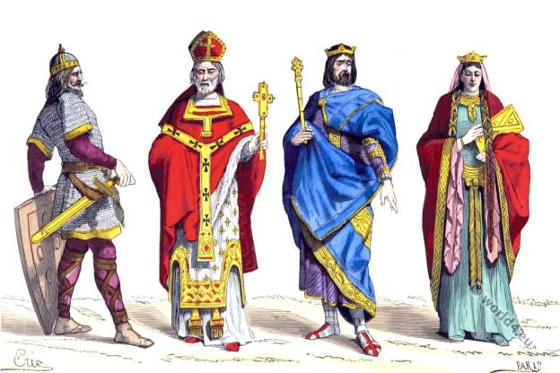 Merovingian Warrior, Bishop, King and Queen. 6th century costumes.