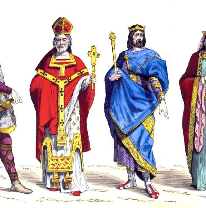 Merovingian Warrior, Bishop, King and Queen. 6th century costumes.