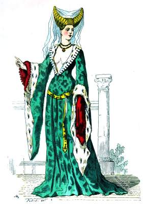 Medieval Noble lady clothes. Burgundy fashion era. 14th century