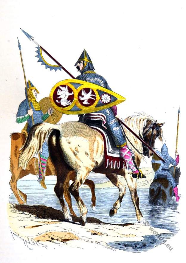 Norman knights. Battle of Hastings. William the Conqueror. Saxon king Harald II.