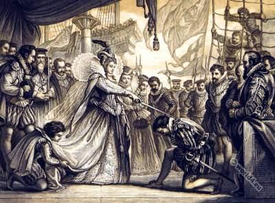 Tudor Queen Elisabeth. Sir Francis Drake. Knighting. Renaissance clothing