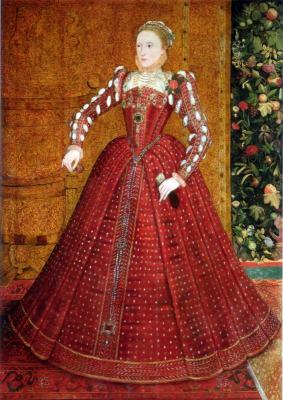 Tudor Queen Elizabeth I. 16th century costumes.