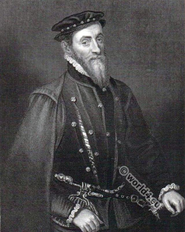 Sir Thomas Gresham. Tudor era. 16th century costumes