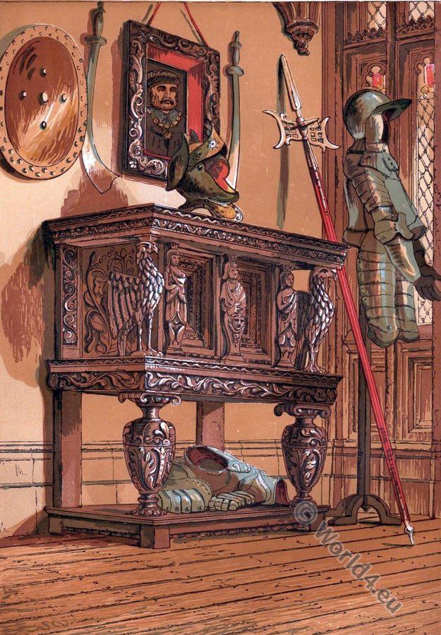 tudor,furniture,Elizabethan,antique, sideboard, 16th century,Warwick Castle