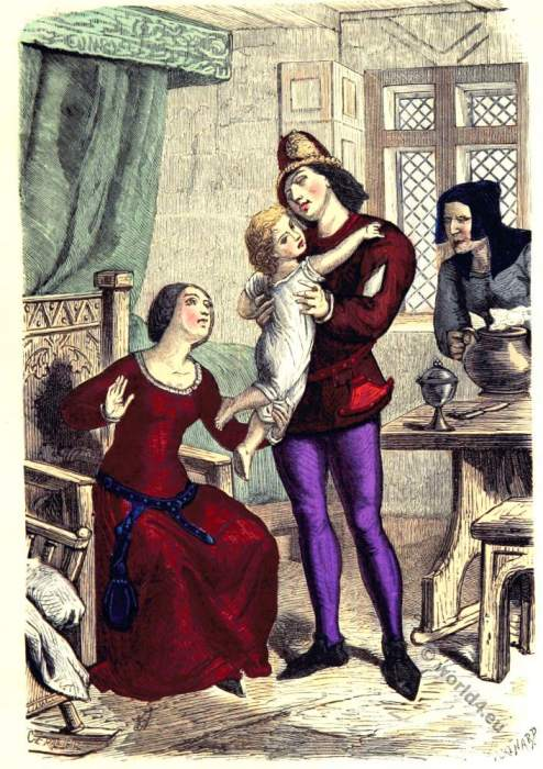 Wealthy, bourgeoisie, family, French, Jailor,middle ages,medieval,costume,dress,history,14th century,fashion
