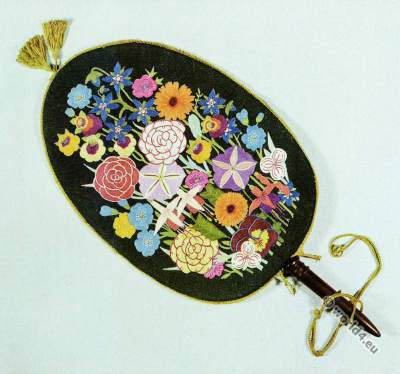 Art Deco design. Embroidered Fan. Lilian Archer