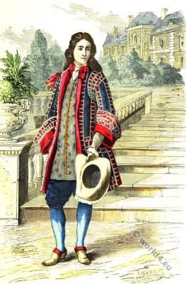 French costume. Baroque era clothing. 17th century fashion