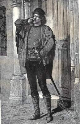 Captain of the archers uniform. Phoebus de Chateaupers. 15th century costumes