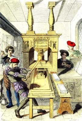 Printing. Renaissance era. 15th century clothing.