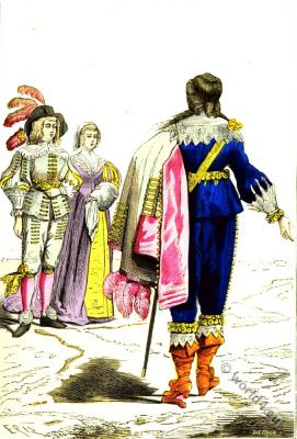 Lord and French nobles fashion. 16th century baroque costumes