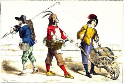 Types of Paris. Baroque era, 17th century costumes