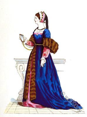 Renaissance fashion. King Francis I Court dress. 16th century fashion.