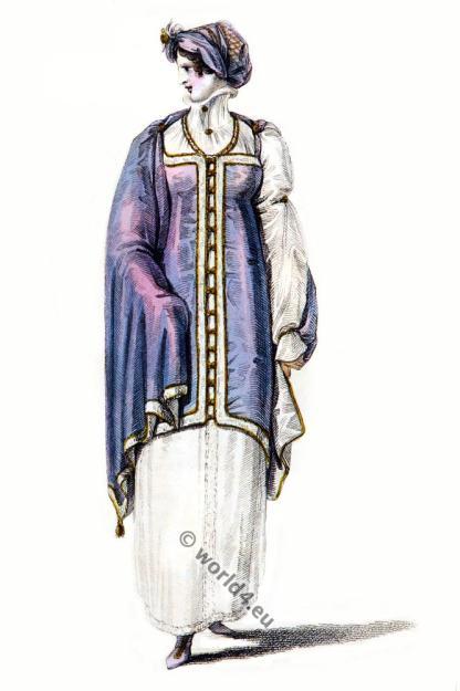 Regency costumes. England Georgian era, 19th century.