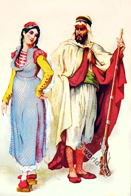 Traditional Georgia folk dress. Arab costumes. Bedouin in Burnus
