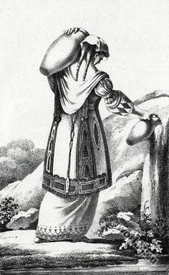 Souliote woman costume. Traditional Albania costumes. Femme Souliote.