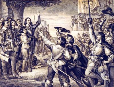England history 17th century. Baroque costumes. England Civil War