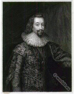George Villiers, 1st Duke of Buckingham. England 17th century nobility. Baroque fashion.