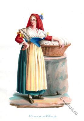 Italy folk dress. Marino, region Lazio. Italia national costume.