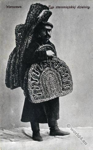 Jewish basket weavers. Jew Warsaw, Poland. Jewish traditional clothing and costumes.