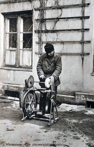 Jewish character. scissors-grinder. Jew Warsaw, Poland. Jewish traditional clothing and costumes.