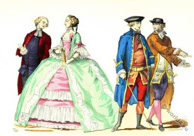 Stroll costumes. 18th century rococo fashion. Worldly priest costume.