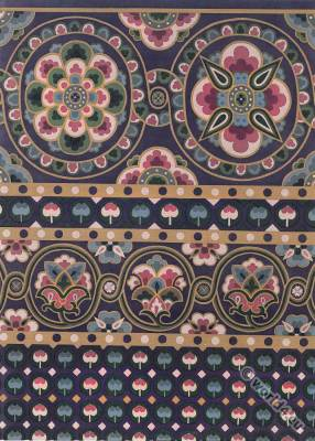 Ancient Byzantine silk fabric. 11th century. Medieval textile design. Grave cloth. Bishop Gunther
